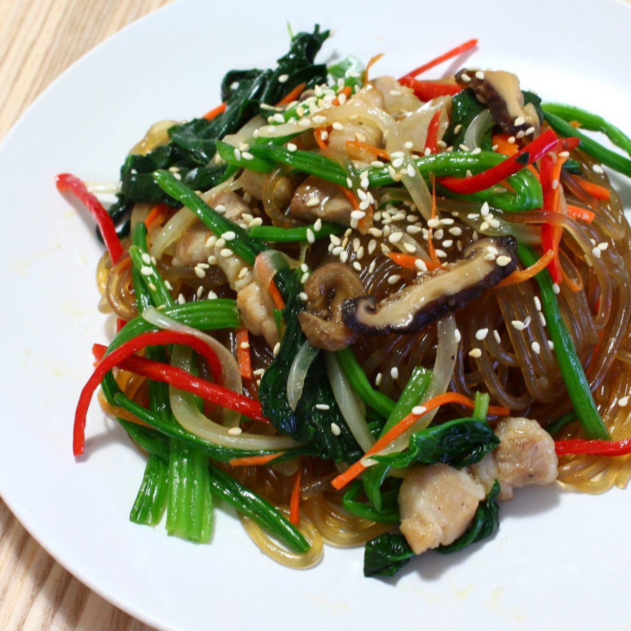 Japchae 잡채 (Stir-fried Sweet Potato Noodles)